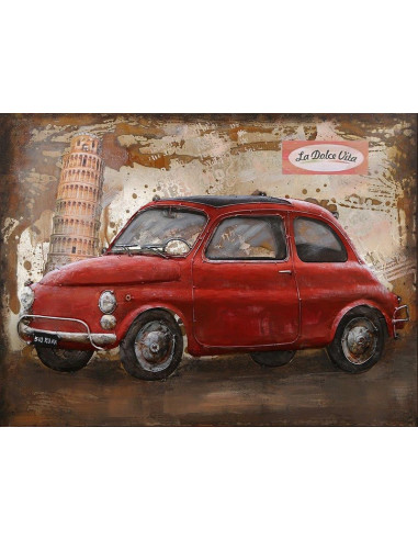 TABLEAU METAL FIAT 500 ROUGE relief