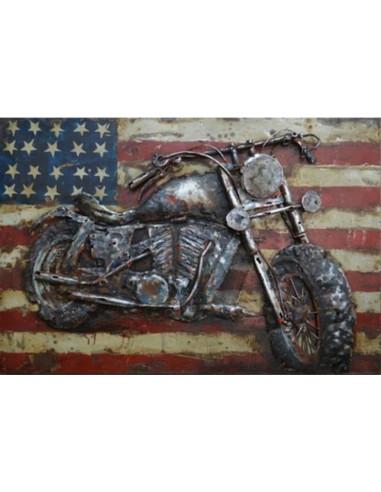 TABLEAU METAL MOTO AMERICAINE relief