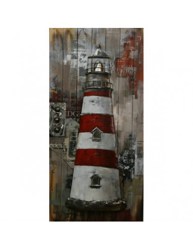TABLEAU METAL PHARE rouge relief